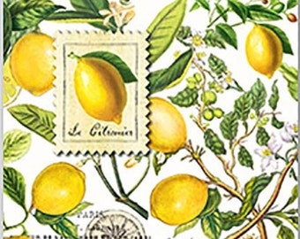 Full Package of 20 Cocktail Napkins for Decoupage and Paper Crafts, Lemons, Citrus