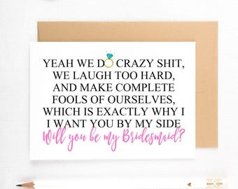 Funny Bridesmaid Cards, Funny Asking cards, Be My MOH, Bridesmaid Proposals, Be My Maid of Honor, Be My Bridesmaid