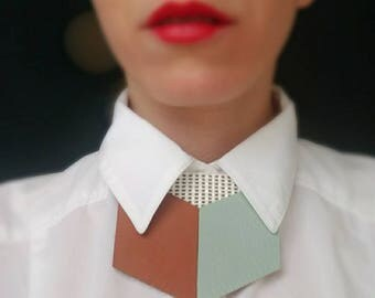 Mint and Latte Leather shirt necklace,unique collar accessory, unisex bow tie alternative, statement necklace, bold necklace, shirt tie, bib