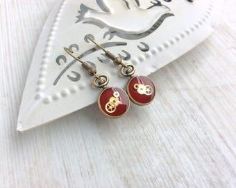 Bright Red Earrings. Small Red Drop Earrings. Watch Part Earrings. Steampunk Earrings. Clock Earrings. Watch Part Earrings. Pocket Watch