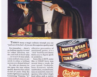 1939 MAGICIAN Chicken of the Sea Tuna Meal Time MAGIC Trick Print Ad