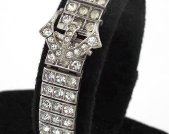 """1920s """" BIRKS """" Sterling Silver Art Deco Belt Buckle Design Bracelet"""