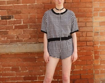 Gilda Marx NOS Vintage 1990s Houndstooth Check Activewear Two Piece Shorts and Top Set