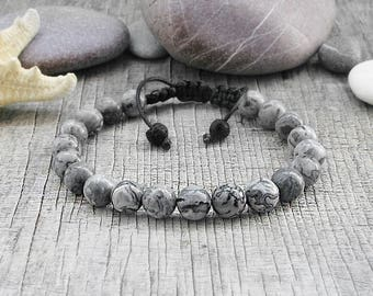 Man stone bracelet Macrame bracelets Mens Marble bracelet Boyfriend bracelet homme Pulsera macrame Gray jasper bracelets macrame jewelry
