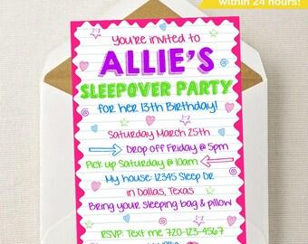 Sleepover invitation Etsy