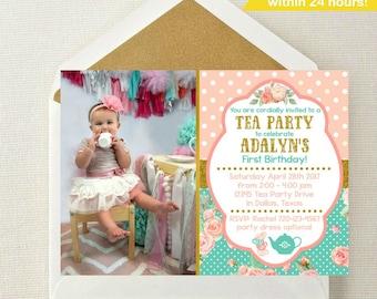 Tea Party Photo Invitation // Tea Party Birthday Invitation // Tea Party Invite // Tea Party Birthday // Tea Party // Dress-up Party