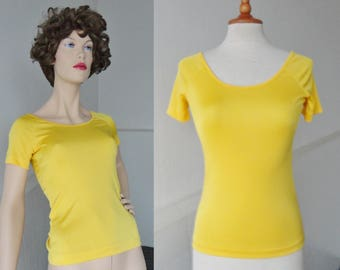 Yellow Vintage Top // Gerard Glortier // Fitted // Size M // Made In France