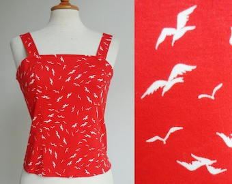 Red Fitted Vintage Top With Seaguls