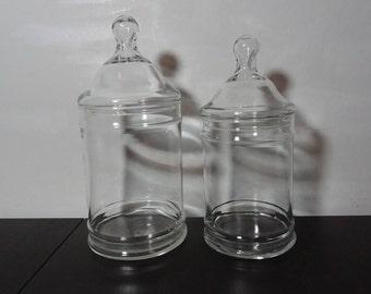 Vintage Clear Glass Apothecary Jars, Storage/Display Jars, Terrarium Jars - Set of 2 - 1 Large and 1 Medium