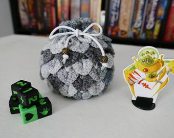 Dragon Scale - White and Grey - DICE BAG - Crochet