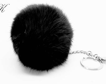 Real Rabbit Fur Fashionable Designer 7 1/2-8cm Black Pom Pom Extended Key Chain Black