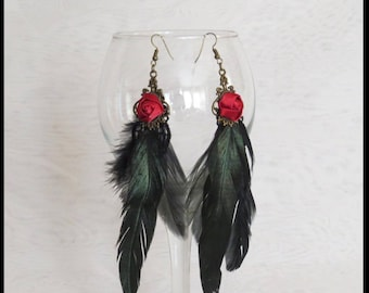 RED ROSE Black FEATHER EARRiNGS