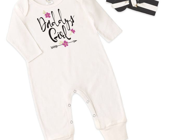 Baby Girl Outfit, Newborn Girl Outfit, Baby Girl Coming Home Outfit, Black Striped Headband, Daddy's Girl Romper, Father's Day, Tesababe