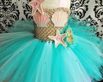 Pink Teal Mermaid/Teal Mermaid Costume/Pink Gold Mermaid Dress/Under the Sea/Mermaid Party/Girls' Dresses/Baby Girl Dresses/Mermaid Dresses