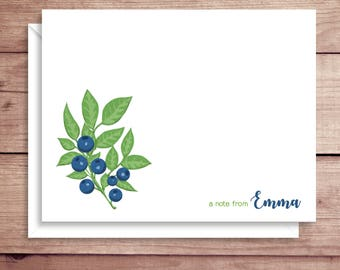 Blueberry Note Cards - Berry Note Cards - Folded Note Cards - Personalized Stationery - Thank You Notes - Illustrated Note Cards