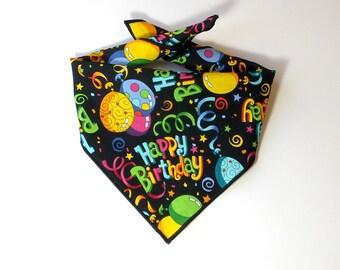 Tie On Happy Birthday Dog Bandana, Dog Scarf, tie bandana, pet bandana, doggy scarf , scarf for dogs