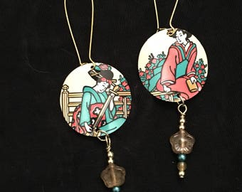 Geisha Recycled Aluminum Dangle Earrings