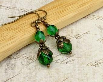 Green Earrings, Green Dangle Earrings, Dainty Earrings, Czech Glass Beads, Victorian Earrings, Antique Gold Earrings, Womens Earrings, Gifts
