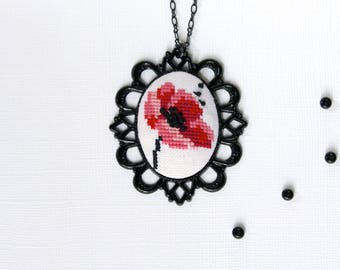 Hand embroidered Poppy necklace in black vintage frame Christmas gift for her Flower jewelry Cross stitch necklace Poppy pendant Red poppy