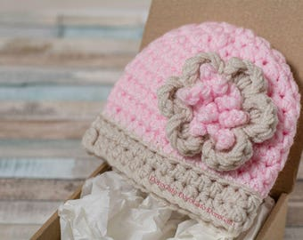 Crochet Baby Hat Pattern, Baby beanie pattern, Newborn hat pattern, Infant hat pattern, Flower hat pattern, PDF crochet pattern /4021/