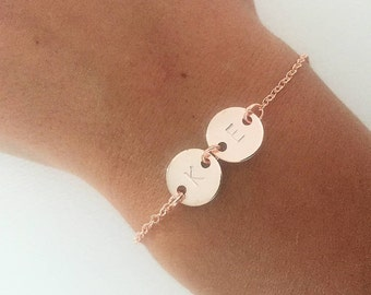 Rose gold bracelet, double initial bracelet, personalised bracelet, personalised gift, gift for women, gift for her, girlfriend gift, couple