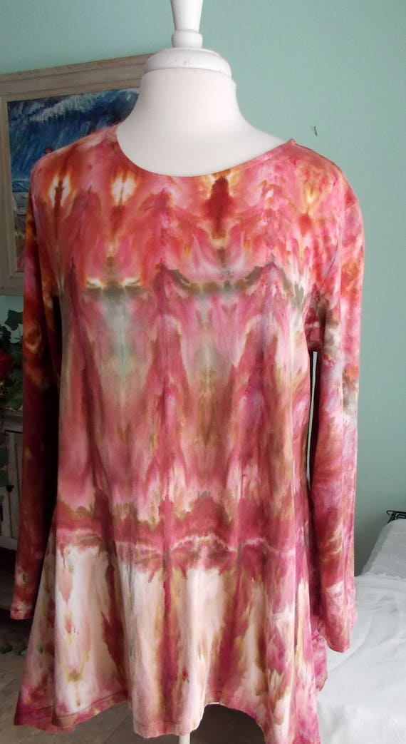 Hanky-hem Ice dye tie dye Women's  Long Sleeve Cotton Shirt