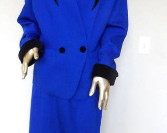 40% OFF Vintage 1980's Blue Wool Suit* Black Velvet Trim. Size 16 . LEW MAGRAM Collection New York . Fabulous Vintage Condition!
