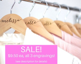 SALE! Bride hanger - Bridesmaid hangers Engraved Wooden hanger - Calligraphy engraved wood