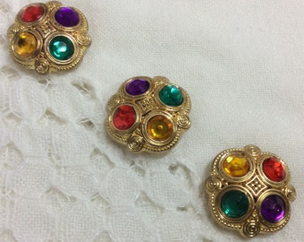 Set of 3 Button Covers Fancy Jeweled Color Stones Gold Tone