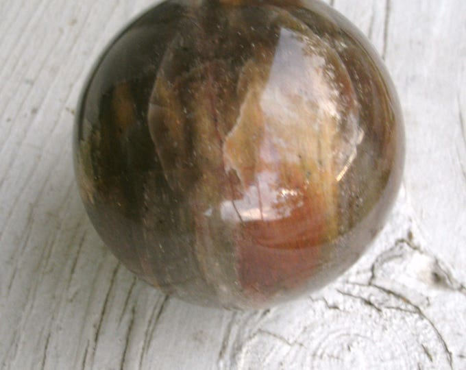 Petrified Wood Polished Sphere, Natural, agatized wood, petrified wood, 52mm. 2 onches, 175g, 6.2 oz, clear Quartz veins, gift, display