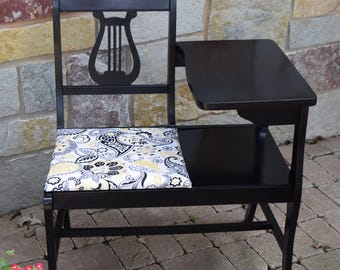 Vintage Mid Century Telephone Chair ~ Telephone Table Bench ~Gossip Bench ~ Vintage Black Accent Table/Chair