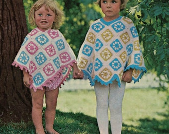 Pretty crochet poncho vintage crochet pattern pdf INSTANT download baby & child sizes pattern only pdf