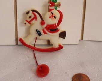 Vintage Santa Clause Riding a Horse Pin Pull and Move Pin