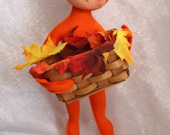 Vintage Extra Large Orange Elf Holding a Basket with Leaves Painted Face Articulated Annalee Doll