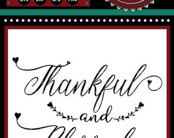 Thankful & Blessed | Cutting File | Printable | svg | eps | dxf | png | Inspirational | Gratitude | Home Decor | Farmhouse | Stencil
