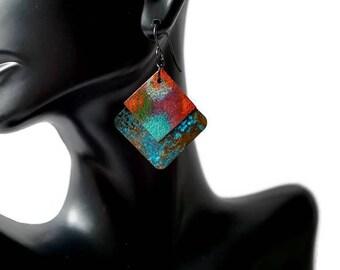 Colorful Statement Earrings, Patina Earrings, Enameled Earrings, Turquoise Earrings, Geometric Earrings, Red Earrings, Purple Earrings