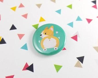 Corgi Button, Corgi Butt, Gift for Her, Corgi Lover, Corgi Butt Pin, Corgi Lovers, Dog Gift, Cute Pin, Bag Accessory, Gift for Dad, Dog Mom