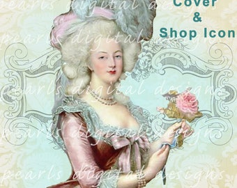 Etsy Cover banner and shop icon, Marie Antoinette, instant download, blank file, premade, vintage theme, ivory damask, pink rose