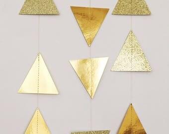 Triangle Garland - Gold Foil Garland - Gold Glitter Garland - Tribal Garland - Garland Backdrop - Metallic Gold Garland - Wedding Garland