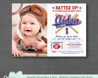 Baseball Birthday Invitation With Photo, Royal Blue and Red, Boy, Sports, Slugger, Rookie, Baseball Birthday Invite, All Star, 17B