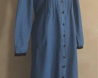 Vintage Denim Dress Button Front with  Corduroy  Trim