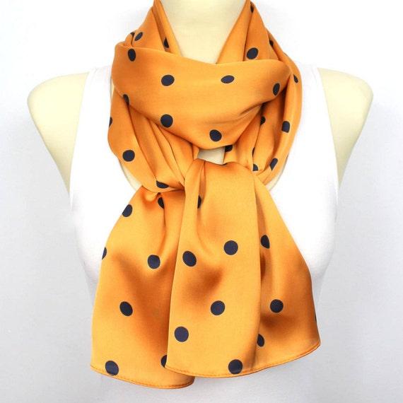 Polka Dots Scarf Orange Satin Scarf Fashion Scarf Women Shawl Unique Scarf Satin Scarf Gift Mom Summer Outdoors Summer Party Gift Girlfriend