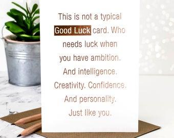 Good Luck Card; Gold Foil Good Luck Card; Rose Gold Foil; New Job Card; GC380