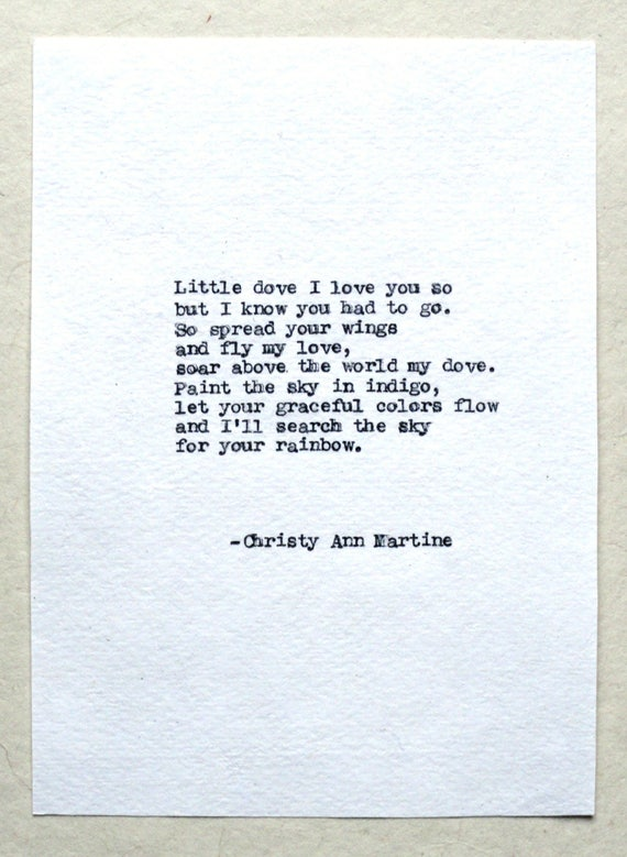 Stillborn Gift - Stillbirth - Baby Loss Gifts - Little Dove I Love You So But I know You Had To Go Sympathy Poem Typed with Typewriter