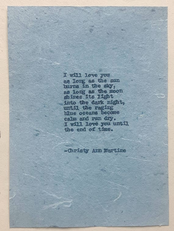 Christmas Gift for Boyfriend or Girlfriend - Romantic Love Poetry Hand Typed on Unique Denim Blue Jeans Paper