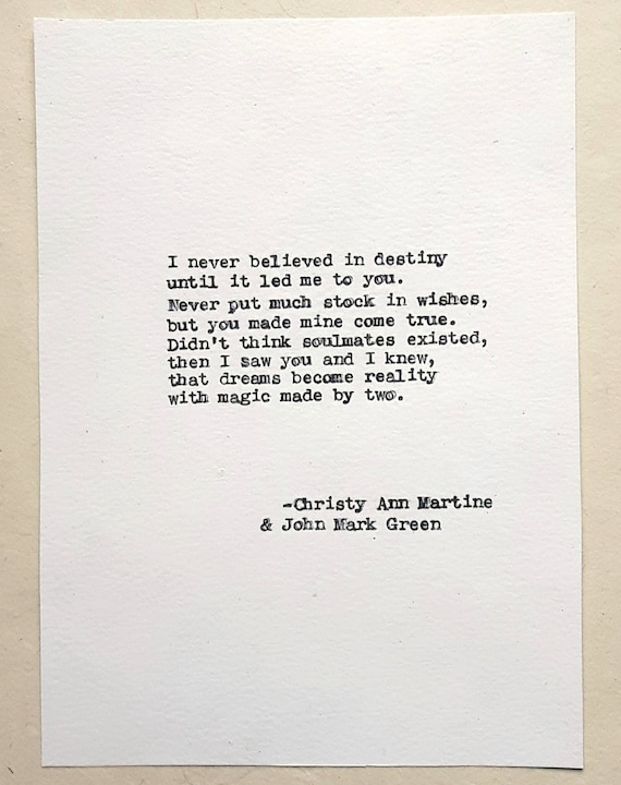 Gift for Him or Her - Destiny Love Poem by John Mark Green and Christy Ann Martine - Hand Typed by Poet with Vintage Typewriter