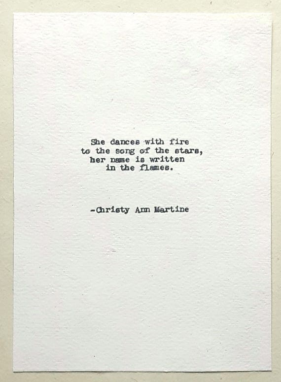 Poetry Decor - Unique Gifts - Christmas Presents for Her - She Dances with Fire to the Song of the Stars Poem