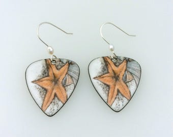 Maui Made Starfish Enamel Earrings w/ Artisan Sterling Ear Wires & Rice Pearl Accent Bead