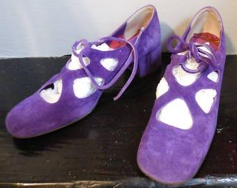 Vintage 1960's Purple Velvet Suede Leather Flats Carol Brent Lace Up Mary Janes sz 7.5 N