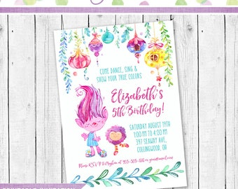 Trolls Birthday Invitation, Trolls Invitation, Trolls Party, Trolls Dance party Invitation, Trolls Birthday party Printable invitation